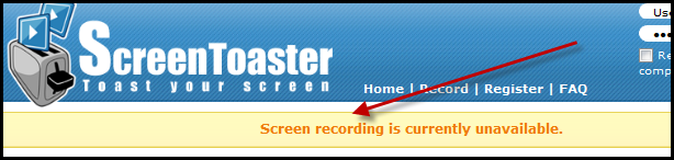 Screen recording is currently unavailable